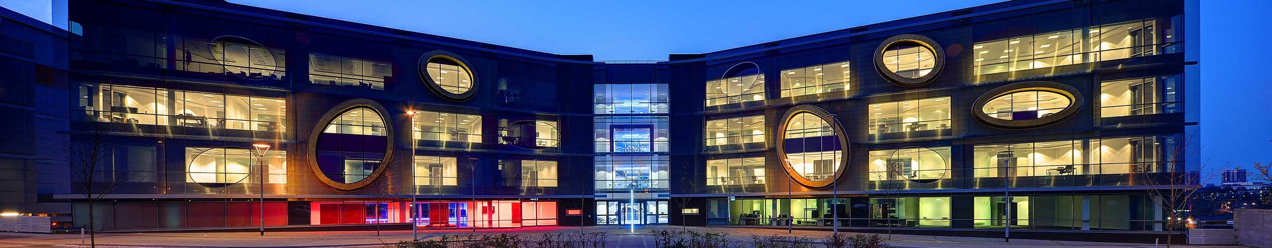Northern Design Centre front exterior at night